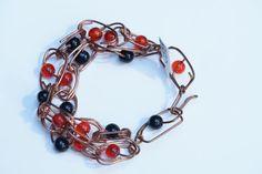 Crazy Carnelian, Onyx Bracelet $38.00