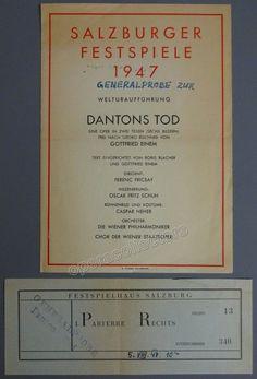 Von Einem, Gottfried - Fricsay, Ferenc - Rehearsal for World Premiere of Dantons Tod by von Einem Program 1947 Salburg Festival