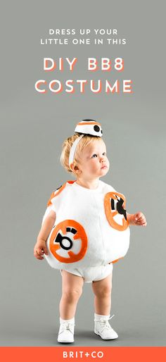 Save this Star Wars DIY kids Halloween costume idea to turn your baby into BB-8.