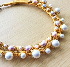 Chunky Pearl Gold Collar Necklace, TAMAR Tribal Statement Collar Necklace w/ Pink and White Pearls, Gold Pearl Tribal Jewelry