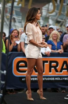 I love this look, but I think it's probably only celebs who can get away with shorts and high heels