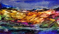 Dreamscape No. 561, 3x5, Alcohol Inks With Acrylic Glazing Dreamscaping With June Rilins®