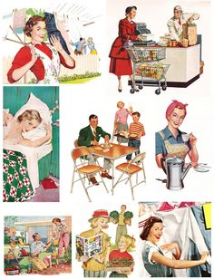 Retro Housewife vintage graphics - free collage sheet download by Mary Watkin @ Flickr