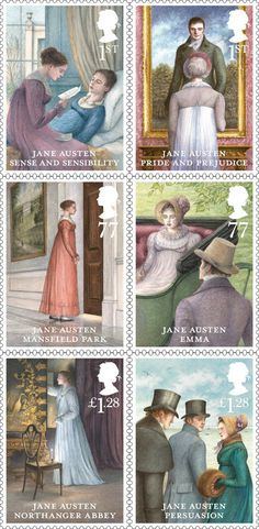 Jane Austen stamps, issued 21 February 2013.  Artwork by Angela Barrett (British, 1955-    )