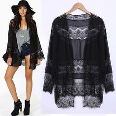 Women Chiffon Lace Stitching Kimono Top Blouse Long Cardigan Coat Black