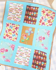 """Quilt baby patchwork kids lap throw blanket cover crib bedding butterfly castle matryoshka rose nursery decor boho colorful 28 x 35"""" gift by poppyshome on Etsy"""