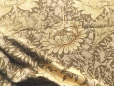 Vintage Sanderson William Morris Linen Union Fabric 'Chrysanthemum' Green Cream | eBay