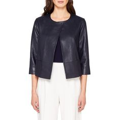 Ted Baker Rennay Leather Collarless Jacket ($335) ❤ liked on Polyvore featuring outerwear, jackets, navy, short jacket, slim fit jackets, blue leather jackets, leather jackets and print jacket