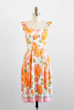 1960s Orange and Pink Roses Silk Watercolor Floral Dress with Bows