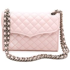 Rebecca Minkoff Quilted Mini Affair Cross Body Bag - Pale Pink (3,285 MXN) ❤ liked on Polyvore featuring bags, handbags, shoulder bags, purses, accessories, bolsas, leather handbags, pink leather handbag, long strap shoulder bag and long strap purse