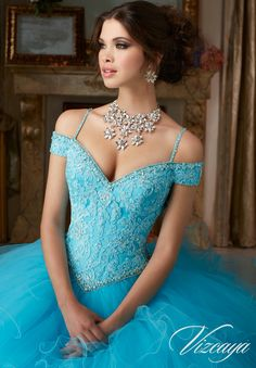 Morilee Vizcaya Quinceanera Dress 89102 BEADED LACE ON A RUFFLED TULLE BALL GOWN Matching Stole. Available in Coral, Scuba Blue, Champagne/Blush, White (Color of this dress): Scuba Blue