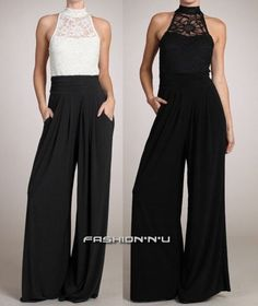 Love the lace shirt and Palazzo pants