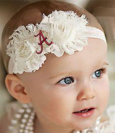 Alabama Crimson Tide Baby/ Toddler Shabby Flower Hair Bow Headband