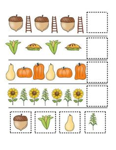 fall-autumn worksheets cut and paste Pre Reading Activities, Printable Preschool Worksheets, Autism Activities, Preschool Learning Activities, Preschool Education, Preschool Lessons, Educational Activities, Kids Learning, Outdoor Fun For Kids