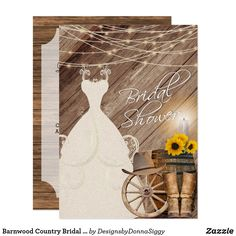 Shop Barnwood Country Bridal Shower Invitation created by DesignsbyDonnaSiggy. Zazzle Invitations, Bridal Shower Invitations, Party Invitations, For Your Party, Grand Opening, Rustic Design, Paper Design, Corporate Events, Barn Wood