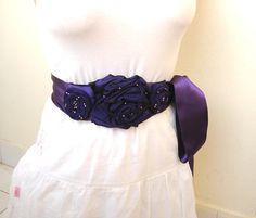 Eggplant  Wedding Dress Sashes beaded flower by boutiqueseragun, $50.00