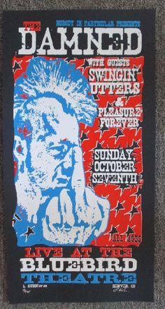 Original silkscreen concert poster for The Damned at The Bluebird Theatre in Denver, CO in 2001. Signed and numbered out of 195 by the artist Lindsey Kuhn. 13 x 26 inches.