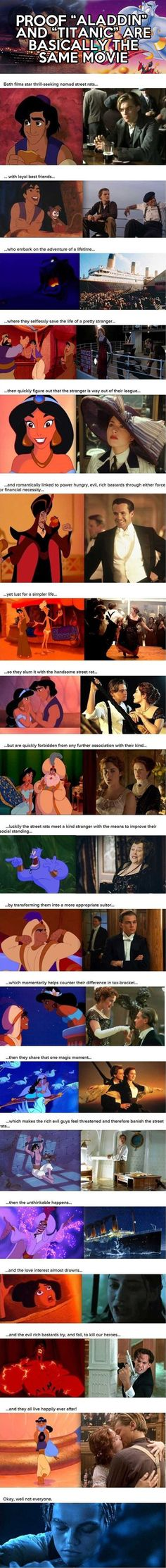 Aladdin vs. Titanic..... Titanic doesn't end happily ever after unless you're fucking demented and see it that way... in which case... get help.
