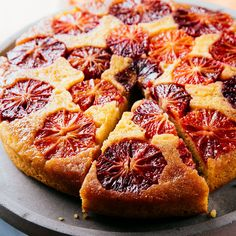 Upside-down cakes have a built-in wow factor with a layer of glacéed-looking fruit. This cake includes almond flour to give it richness and added moisture, plus zest for a more intense layer of blood orange flavor. Orange Sanguine, Orange Recipes, Orange Foods, Lemon Recipes, Yummy Recipes, Margarita Recipes, Orange Slices, Molecular Gastronomy, Blood Orange