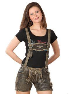 MondKini Damen Lederhose kurz, Shorts Coco: Amazon.de: Bekleidung