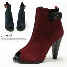 MODELSIS  Genuine Suede Peep-Toe Ankle Boots