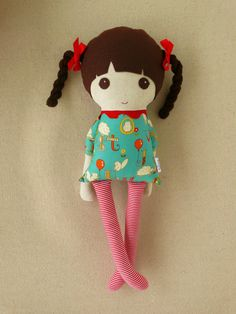 Fabric Doll Rag Doll Brown Haired Girl in Braids with  Animal Alphabet Print Dress $34