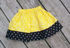 Yellow and Black Girl's Twirl Skirt  Baby  Infant  by Livanni, $12.00