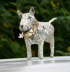 Small Papier Maché Bull Terrier with Gilded by TheTerriersClub