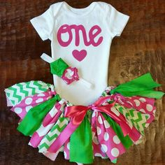Three Piece Bright Pink and Green Birthday Outfit Including Onesie/Shirt, Fabric Tutu, and Headband for Watermelon Theme Birthday