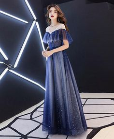 Romantic Scoop Lace up Prom Dresses Blue Floor Length Evening Dresses with Tulle A Line V Neck Long Prom Dresses, Short Sleeves Long Formal Dresses, Dance Dresses on sale – SisaStore Blue Evening Dresses, Prom Dresses Blue, Dance Dresses, Pretty Dresses, Sexy Dresses, Beautiful Dresses, Fashion Dresses, Formal Dresses, Romantic Dresses