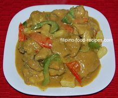 This recipe will show you how to make chicken curry Filipino style recipe is a creamy stew with a mild curry flavor,  cooked with coconut milk, potatoes and bell peppers.
