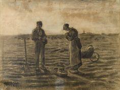 Vincent van Gogh: Angelus, The, Brussels: October, 1880 (Otterlo, Kröller-Müller Museum) Vincent Van Gogh, Van Gogh Drawings, Van Gogh Paintings, Portrait Paintings, Art Van, Rembrandt, Van Gogh Zeichnungen, Monet, Impressionist