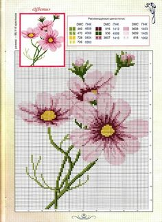 Cross-stitch Cosmos Flowers - idea for mosaic Just Cross Stitch, Cross Stitch Cards, Cross Stitch Flowers, Cross Stitching, Cross Stitch Embroidery, Embroidery Patterns, Hand Embroidery, Cross Stitch Designs, Cross Stitch Patterns