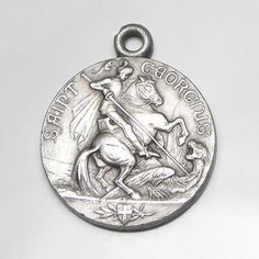 Bonyak Jewelry St Theodore Stratelates Hand-Crafted Oval Medal Pendant in Sterling Silver