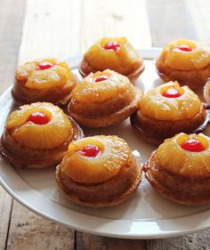 Mini Pineapple Upside Down Cakes - this takes a bit of time but it's a cool dinner party dessert..totally different.  #dessert #dinnerparty