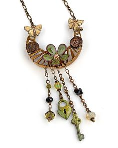 Vintage Button Brass Steampunk Necklace C-Koop Charm Swarovski Crystal Olive Green Yellow Black OOAK