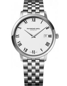 RAYMOND WEIL Genève > Toccata 5588-ST-00300 Mens Watches - 42 mm Steel on steel white dial | RAYMOND WEIL Genève Luxury Watches > Swiss Luxu...