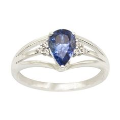 0.70 Carat Pear Tanzanite Ring 14k White Gold | Pear Tanzanite Ring --- I don't typically like the pear shape but this ring is really really pretty!