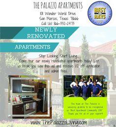 NEWLY RENOVATED APARTMENTS | The Palazzo Apartments - San Marcos, TX #texas #SanMarcosTX #shoplocal #localTX