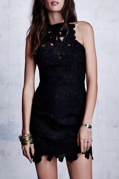 Women's fashion   Beautiful black lace dress with a lot of bracelets