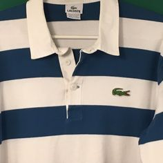 Lacoste Mens Striped Rugby Polo Long Sleeve Blue White Shirt Sz Large #Lacoste #PoloRugby