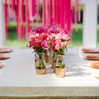 gold painted vases, ribbon garland | style me pretty