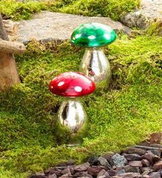 Mercury Glass Mushroom Statues, Set of 2 in Garden Sculptures Garden Mushrooms, Glass Mushrooms, Glass Garden Art, Glass Art, Stained Glass Patterns, Mercury Glass, Fairy Houses, Yard Art, Lawn And Garden