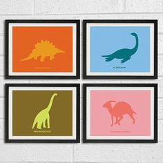 Dinosaur Nursery Art Prints Series A - Children Room Home Decor set of 4 8x10