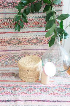 Tapis Marocain Kilim Boucherouite tissé à plat par MaisonMenara