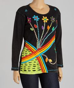 This Rainbow & Black Floral Scoop Neck Top by Rising International is perfect! #zulilyfinds