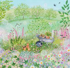 Garden Illustration, Cute Illustration, Original Paintings For Sale, Aesthetic Drawing, Naive Art, Landscape Art, Painting Inspiration, Garden Art, Cute Art