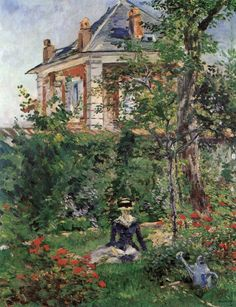 In the Garden of the Villa Bellevue (1880). Edouard Manet(French, 1832-1883). Oil on canvas. Sammlung E.G.Bührle. In the most impressive Impressionist manner, the portrayal of the house, foliage, and the figure reading a book appears in a glittering...