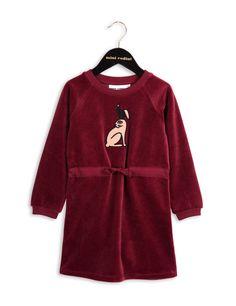 Rabbit velour dress BURGUNDY
