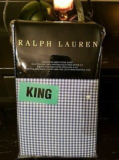 b508d9be3def NEW Ralph Lauren Classic Gingham King Extra Deep FITTED Sheet French Blue   185